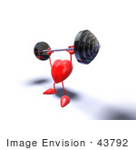 #43792 Royalty-Free (Rf) Illustration Of A Romantic 3d Red Love Heart Mascot Lifting A Barbell - Version 8