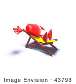 #43793 Royalty-Free (Rf) Illustration Of A Romantic 3d Red Love Heart Mascot Sun Bathing In A Chair - Version 6
