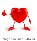 #43794 Royalty-Free (RF) Illustration of a Romantic 3d Red Love Heart Mascot Giving The Thumbs Up by Julos