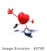 #43795 Royalty-Free (Rf) Illustration Of A Romantic 3d Red Love Heart Mascot Inline Skating - Version 3