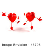 #43796 Royalty-Free (Rf) Illustration Of Two Happy 3d Red Love Heart Characters Jumping - Version 3
