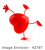 #43797 Royalty-Free (Rf) Illustration Of A Romantic 3d Red Love Heart Mascot Doing A Cartwheel - Version 1