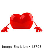 #43798 Royalty-Free (Rf) Illustration Of A Romantic 3d Red Love Heart Mascot Standing Behind A Blank Sign