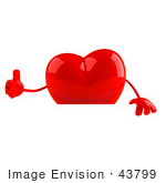 #43799 Royalty-Free (Rf) Illustration Of A Romantic 3d Red Love Heart Mascot Giving The Thumbs Up And Standing Behind A Blank Sign