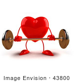 #43800 Royalty-Free (Rf) Illustration Of A Romantic 3d Red Love Heart Mascot Lifting A Barbell - Version 6