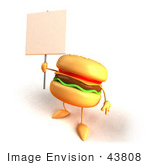 #43808 Royalty-Free (Rf) Illustration Of A 3d Cheeseburger Mascot Holding Up A Sign On A Post - Version 4