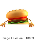 #43809 Royalty-Free (Rf) Illustration Of A 3d Cheeseburger Mascot Standing Behind A Blank Sign