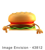#43812 Royalty-Free (Rf) Illustration Of A 3d Cheeseburger Mascot Gesturing Peace And Standing Behind A Blank Sign