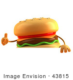#43815 Royalty-Free (Rf) Illustration Of A 3d Cheeseburger Mascot Giving The Thumbs Up And Standing Behind A Blank Sign