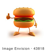 #43818 Royalty-Free (Rf) Illustration Of A 3d Cheeseburger Mascot Giving The Thumbs Up - Version 1