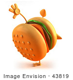 #43819 Royalty-Free (Rf) Illustration Of A 3d Cheeseburger Mascot Doing A Cartwheel - Version 1