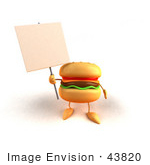 #43820 Royalty-Free (Rf) Illustration Of A 3d Cheeseburger Mascot Holding Up A Sign On A Post - Version 3