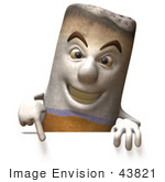 #43821 Royalty-Free (Rf) Clipart Illustration Of A 3d Cigarette Mascot Pointing Down And Standing Behind A Blank Sign