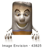 #43825 Royalty-Free (Rf) Clipart Illustration Of A 3d Cigarette Mascot Standing Behind A Blank Sign