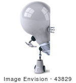 #43829 Royalty-Free (Rf) Illustration Of A 3d Robotic Incandescent Light Bulb Mascot Looking Around A Blank Sign - Version 1