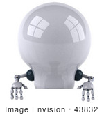 #43832 Royalty-Free (Rf) Illustration Of A 3d Robotic Incandescent Light Bulb Mascot Standing Behind A Blank Sign