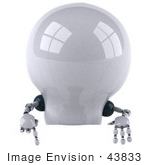 #43833 Royalty-Free (Rf) Illustration Of A 3d Robotic Incandescent Light Bulb Mascot Pointing Down At And Standing Behind A Blank Sign