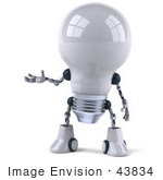 #43834 Royalty-Free (Rf) Illustration Of A 3d Robotic Incandescent Light Bulb Mascot Holding One Hand Out - Version 1