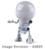 #43835 Royalty-Free (Rf) Illustration Of A 3d Robotic Incandescent Light Bulb Mascot Holding One Hand Out - Version 2