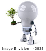 #43838 Royalty-Free (Rf) Illustration Of A 3d Robotic Incandescent Light Bulb Mascot Holding A Plant - Version 2