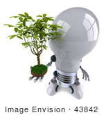 #43842 Royalty-Free (Rf) Illustration Of A 3d Robotic Incandescent Light Bulb Mascot Holding A Plant - Version 3