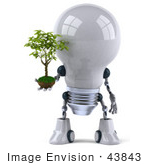 #43843 Royalty-Free (Rf) Illustration Of A 3d Robotic Incandescent Light Bulb Mascot Holding A Plant - Version 1