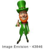 #43846 Royalty-Free (Rf) Illustration Of A Friendly 3d Leprechaun Man Mascot Giving The Thumbs Up