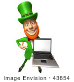 #43854 Royalty-Free (Rf) Illustration Of A Friendly 3d Leprechaun Man Mascot Holding A Laptop - Version 2