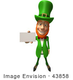 #43858 Royalty-Free (Rf) Illustration Of A Friendly 3d Leprechaun Man Mascot Holding Out A Blank Business Card - Version 1