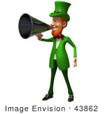 #43862 Royalty-Free (Rf) Illustration Of A Friendly 3d Leprechaun Man Mascot Announcing Through A Megaphone - Version 5