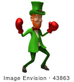 #43863 Royalty-Free (Rf) Illustration Of A Friendly 3d Leprechaun Man Mascot Boxing - Version 3