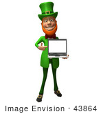 #43864 Royalty-Free (Rf) Illustration Of A Friendly 3d Leprechaun Man Mascot Holding A Laptop - Version 4