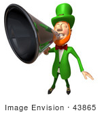 #43865 Royalty-Free (Rf) Illustration Of A Friendly 3d Leprechaun Man Mascot Announcing Through A Megaphone - Version 2