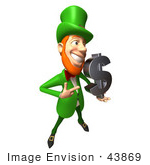 #43869 Royalty-Free (Rf) Illustration Of A Friendly 3d Leprechaun Man Mascot Holding A Dollar Symbol - Version 3