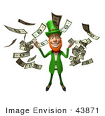 #43871 Royalty-Free (Rf) Illustration Of A Friendly 3d Leprechaun Man Mascot Throwing Cash - Version 4