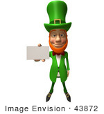 #43872 Royalty-Free (Rf) Illustration Of A Friendly 3d Leprechaun Man Mascot Holding Out A Blank Business Card - Version 3