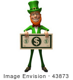 #43873 Royalty-Free (Rf) Illustration Of A Friendly 3d Leprechaun Man Mascot Holding A Large Dollar Bill - Version 3