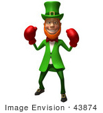 #43874 Royalty-Free (Rf) Illustration Of A Friendly 3d Leprechaun Man Mascot Boxing - Version 1