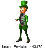 #43875 Royalty-Free (Rf) Illustration Of A Friendly 3d Leprechaun Man Mascot Holding A Euro Symbol - Version 1