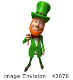 #43876 Royalty-Free (Rf) Illustration Of A Friendly 3d Leprechaun Man Mascot Giving The Thumbs Down