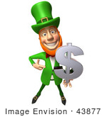 #43877 Royalty-Free (Rf) Illustration Of A Friendly 3d Leprechaun Man Mascot Holding A Dollar Symbol - Version 1