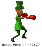 #43879 Royalty-Free (Rf) Illustration Of A Friendly 3d Leprechaun Man Mascot Boxing - Version 6
