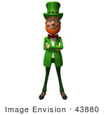 #43880 Royalty-Free (Rf) Illustration Of A Friendly 3d Leprechaun Man Mascot With His Arms Crossed - Version 1