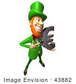 #43882 Royalty-Free (Rf) Illustration Of A Friendly 3d Leprechaun Man Mascot Holding A Euro Symbol - Version 3