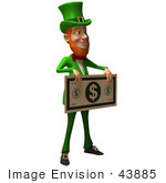 #43885 Royalty-Free (Rf) Illustration Of A Friendly 3d Leprechaun Man Mascot Holding A Large Dollar Bill - Version 2