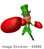 #43886 Royalty-Free (Rf) Illustration Of A Friendly 3d Leprechaun Man Mascot Boxing - Version 5