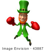 #43887 Royalty-Free (Rf) Illustration Of A Friendly 3d Leprechaun Man Mascot Boxing - Version 4