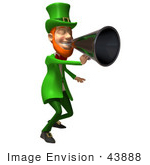 #43888 Royalty-Free (Rf) Illustration Of A Friendly 3d Leprechaun Man Mascot Announcing Through A Megaphone - Version 4