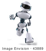 #43889 Royalty-Free (Rf) Illustration Of A 3d Robot Mascot Running Forward