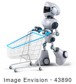 #43890 Royalty-Free (Rf) Illustration Of A 3d Robot Mascot Pushing A Shopping Cart - Version 3